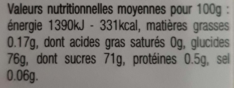 La pâte du fruit - Informations nutritionnelles