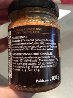 Moutarde a l'ancienne - piment d'espelette - Nutrition facts