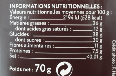 Chocolat noir grand cru Raan 68% - Nutrition facts - fr