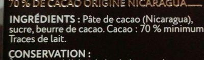 Chocolat noir grand cru Nueva Segovia 70% - Ingredients - fr