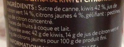 Confiture Extra Kiwi et Citron - Ingredients