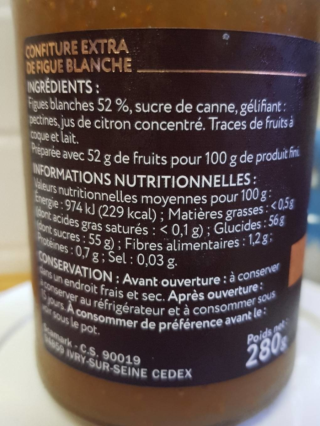 Confiture Extra Figue Blanche - Nutrition facts