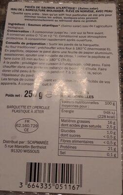 Pavés de saumon - Voedingswaarden - fr
