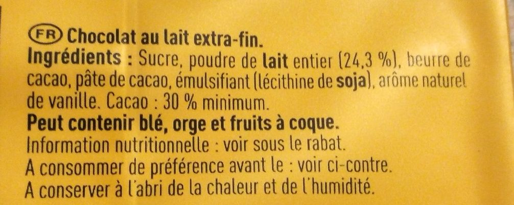 Chocolat au lait - Ingredients - fr