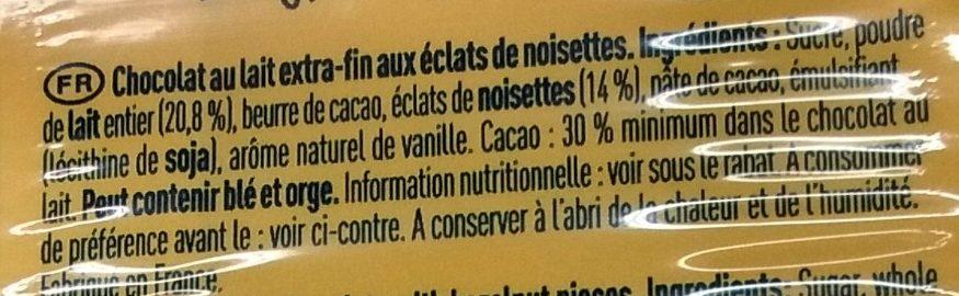 Au Bon Lait de Nos Régions Noisettes - Chocolat au lait extra-fin - Ingredientes - fr