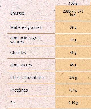 Au Bon Lait de Nos Régions Noisettes - Chocolat au lait extra-fin - Información nutricional - fr