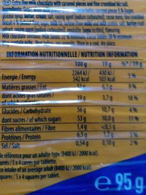 Au bon lait de nos régions - Feuilleté caramel - Información nutricional - fr