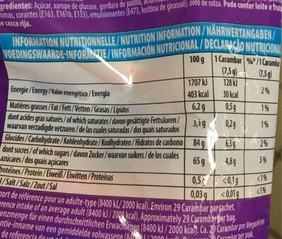 Carambar Atomic - Valori nutrizionali - fr