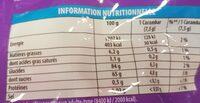 Carambar atomic - Informação nutricional - fr