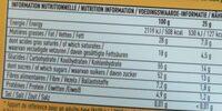Chocolat noir extra - Voedingswaarden - fr