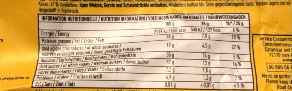 Chocolat noir extra - Información nutricional - fr