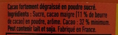 Grand Arôme 32% de Cacao - Ingrédients