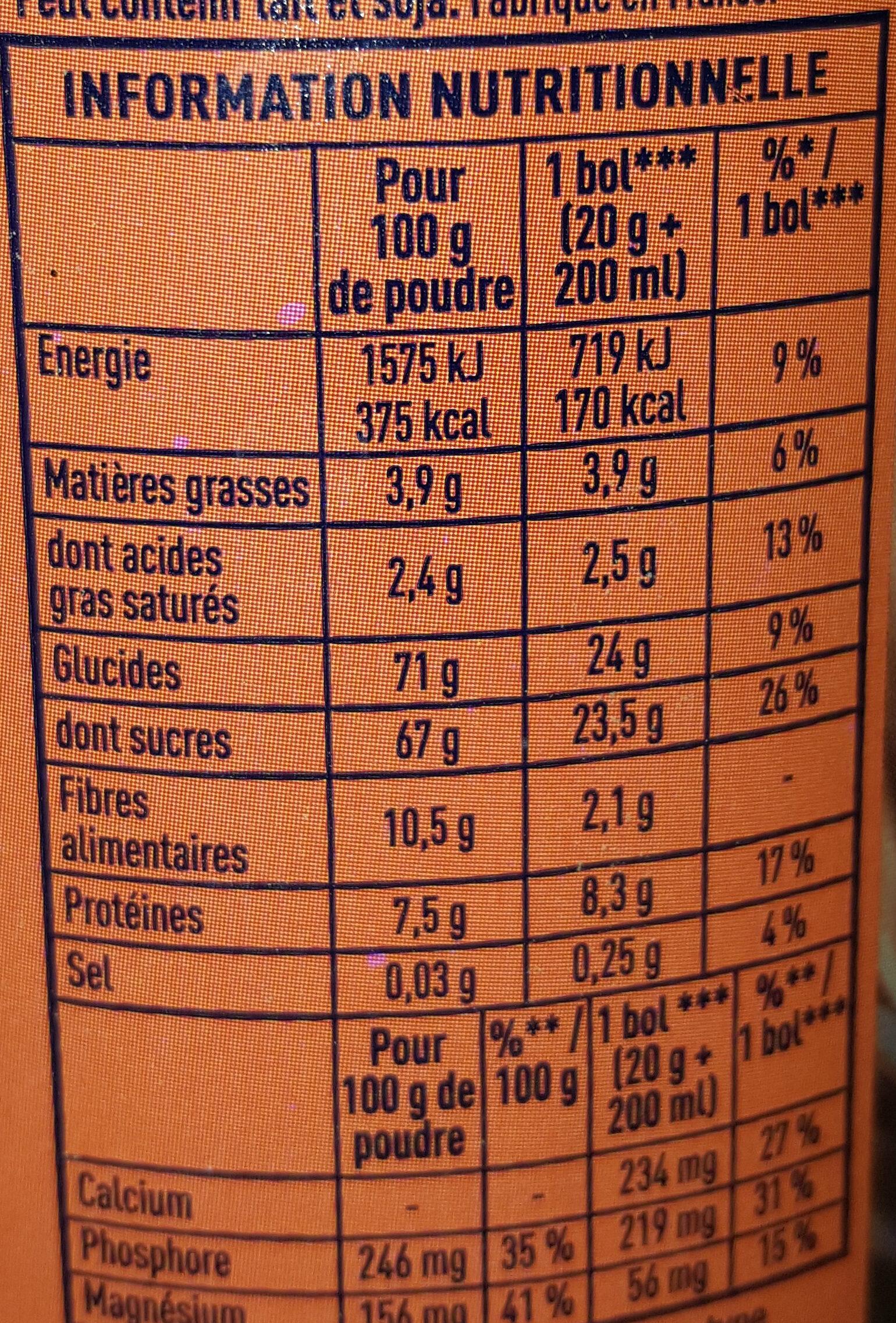 Grand Arôme 32% de Cacao - Nutrition facts - fr