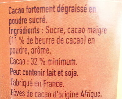 Grand Arôme 32% de Cacao - Ingredients - fr