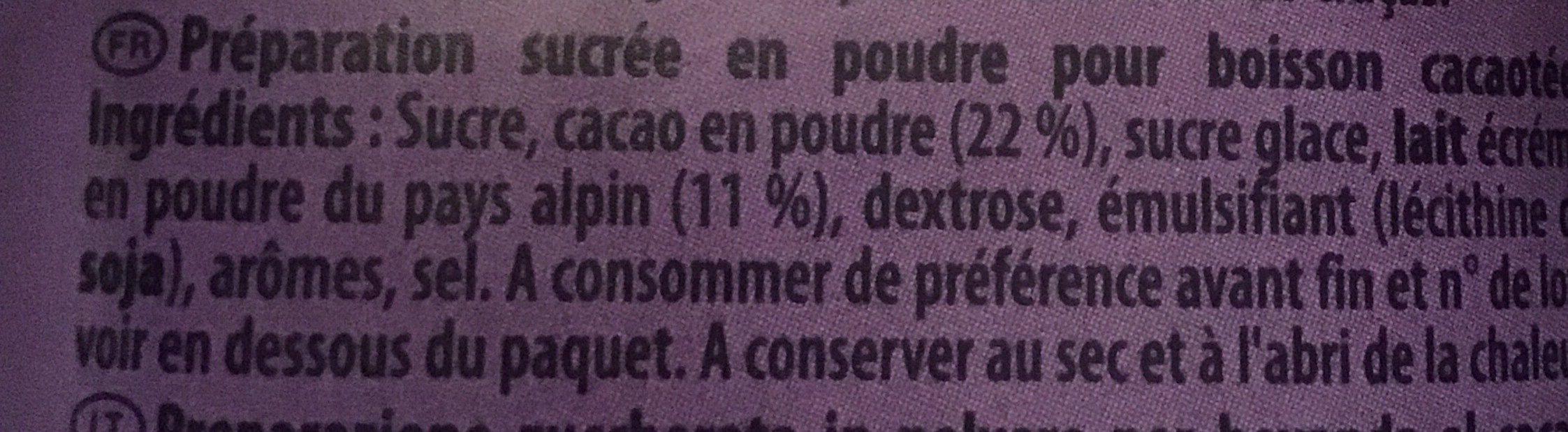 Milka au tendre goût Chocolat - Ingrédients - fr
