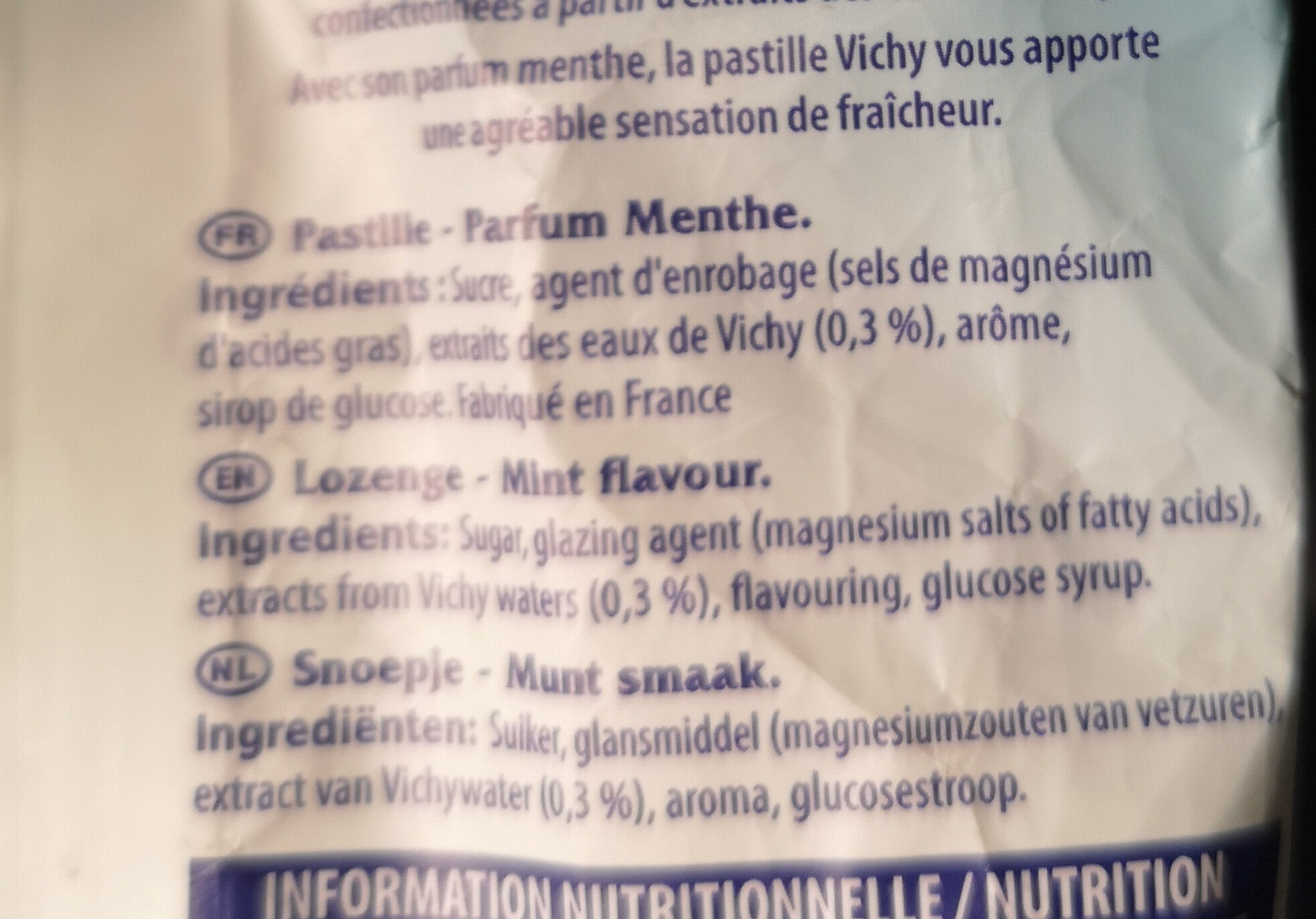 PASTILLES VICHY MENTHE 230G - Ingredientes - fr