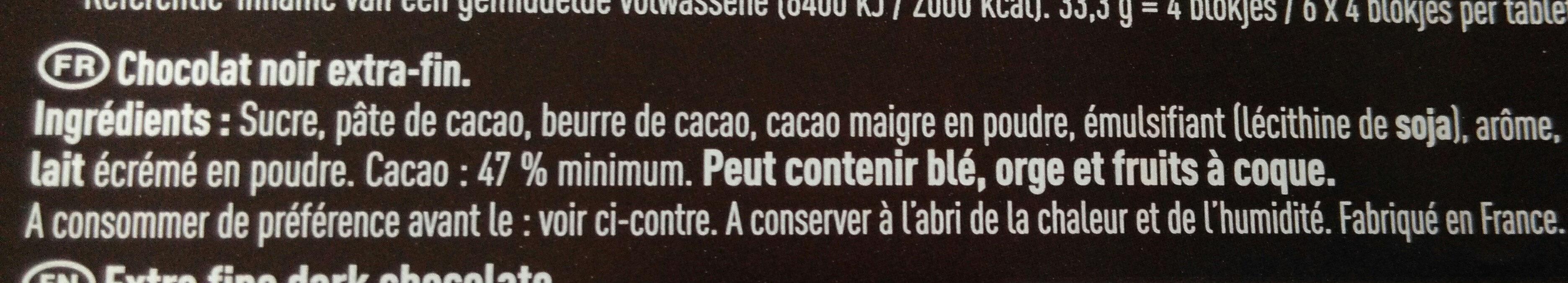 Poulain Noir Extra - Ingrédients - fr