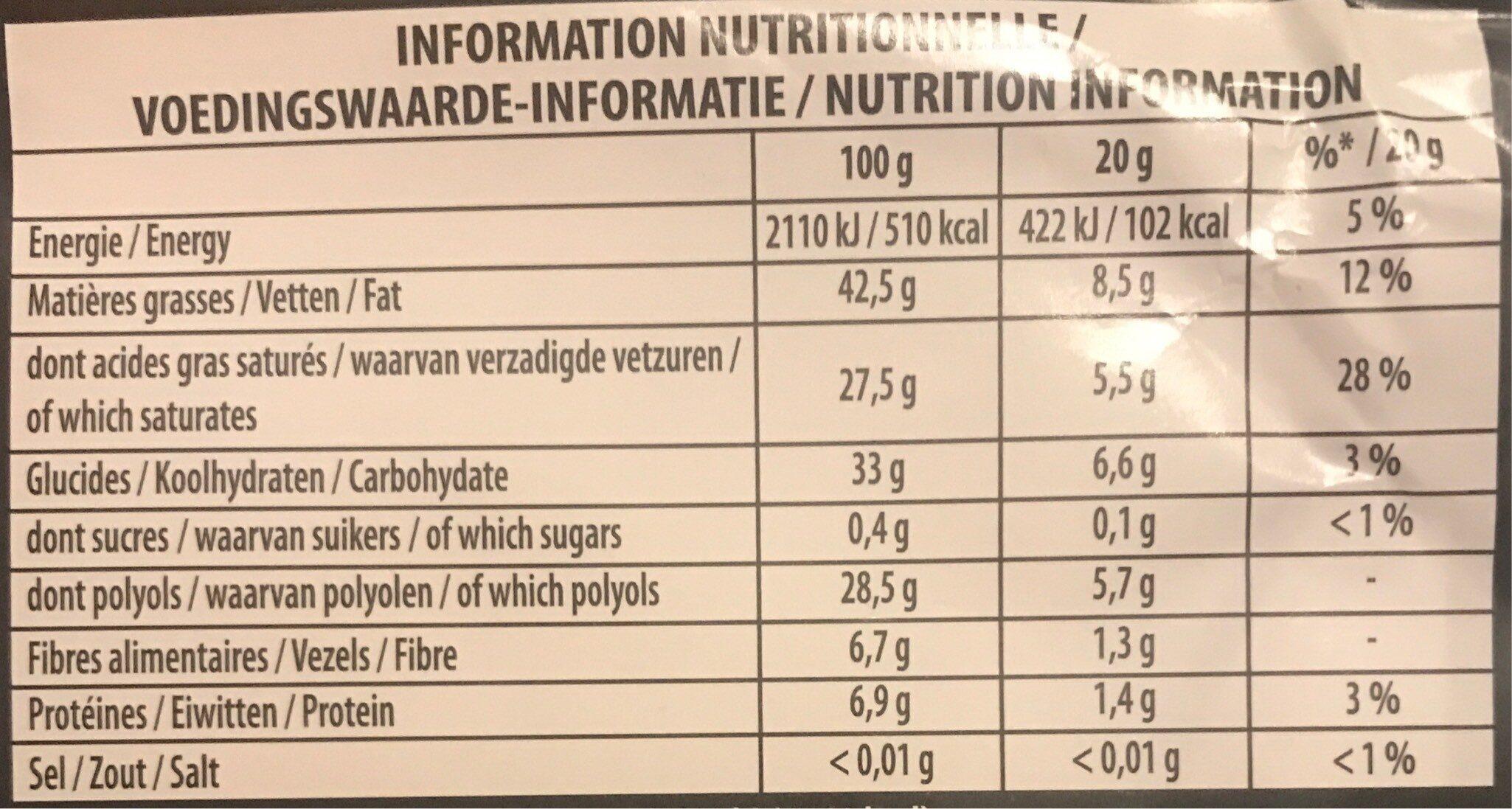 fine et gourmande Noir 70% - Informations nutritionnelles - fr