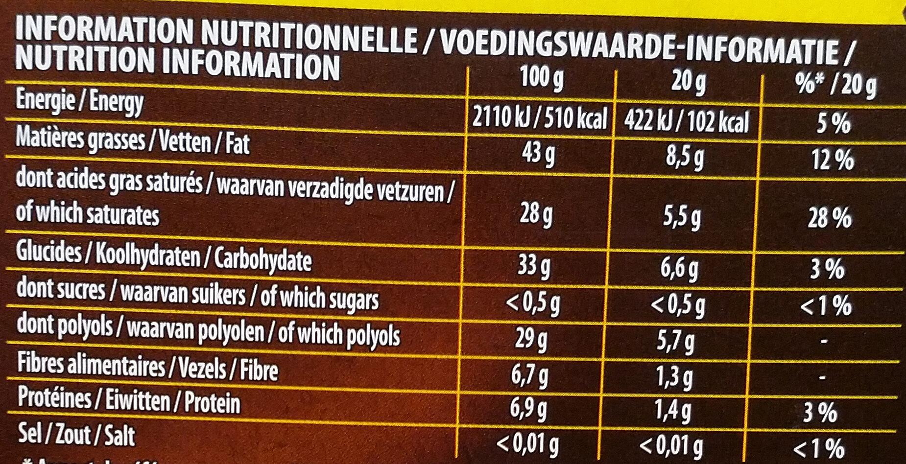 Fine et gourmande Noir 70% - Información nutricional - fr