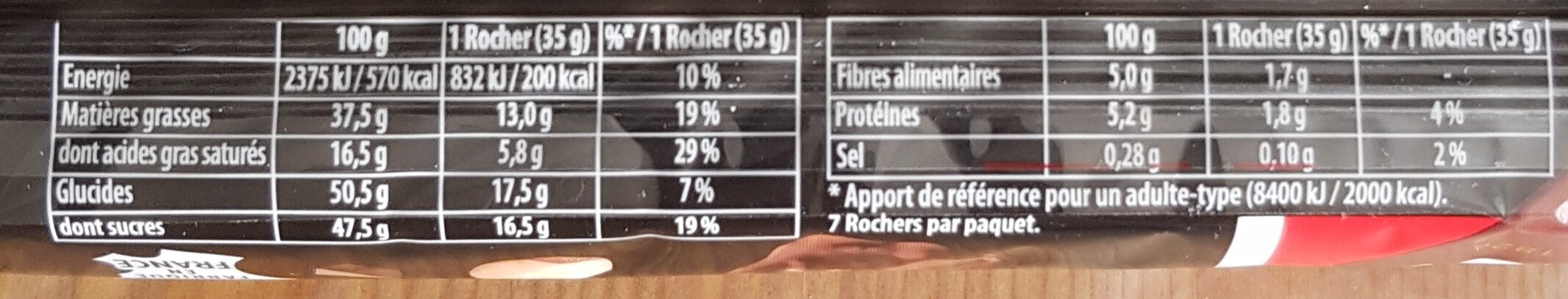Rocher au chocolat noir - Nutrition facts - fr