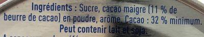 Chocolat en poudre - Ingredientes - fr