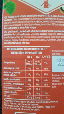 Chocolat au lait spéculoos et noisettes - Nutrition facts