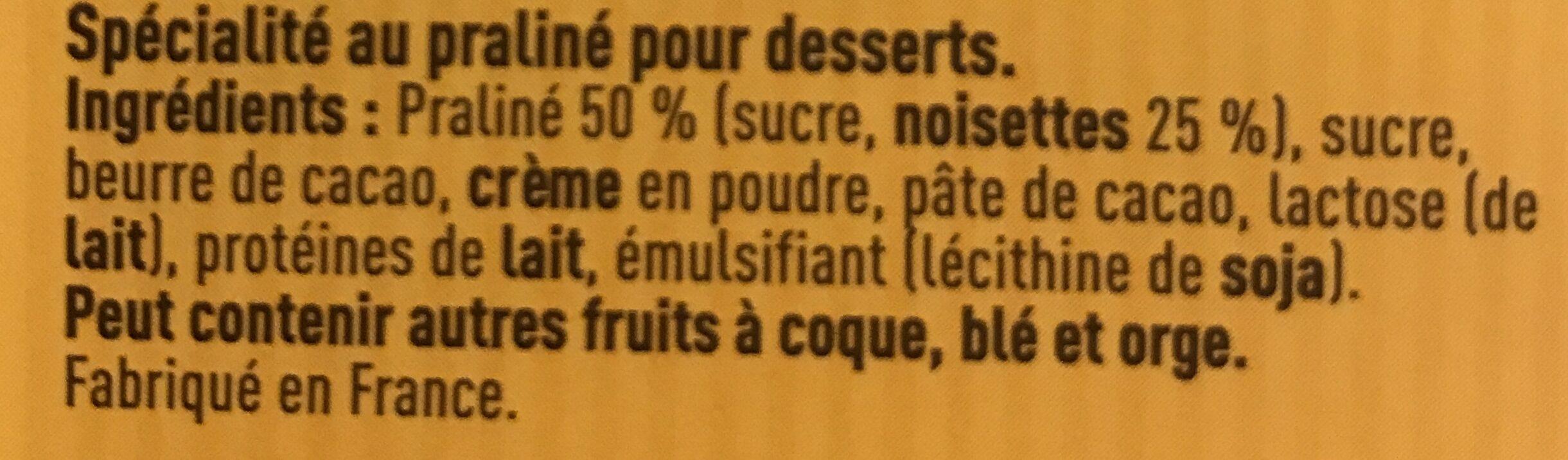 Pralinoise - Ingredientes - fr