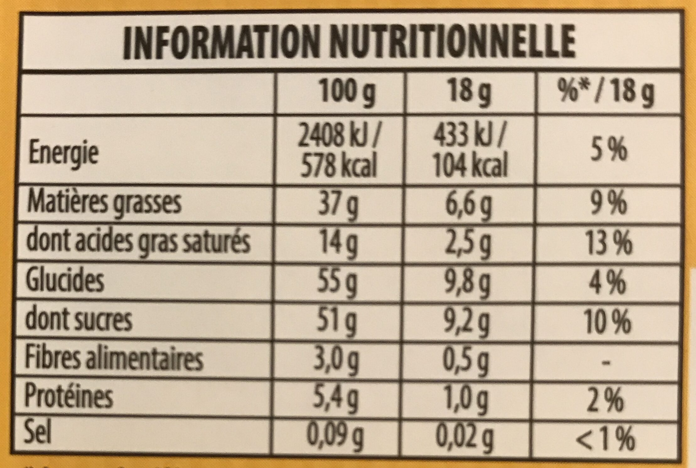 Pralinoise - Informação nutricional - fr