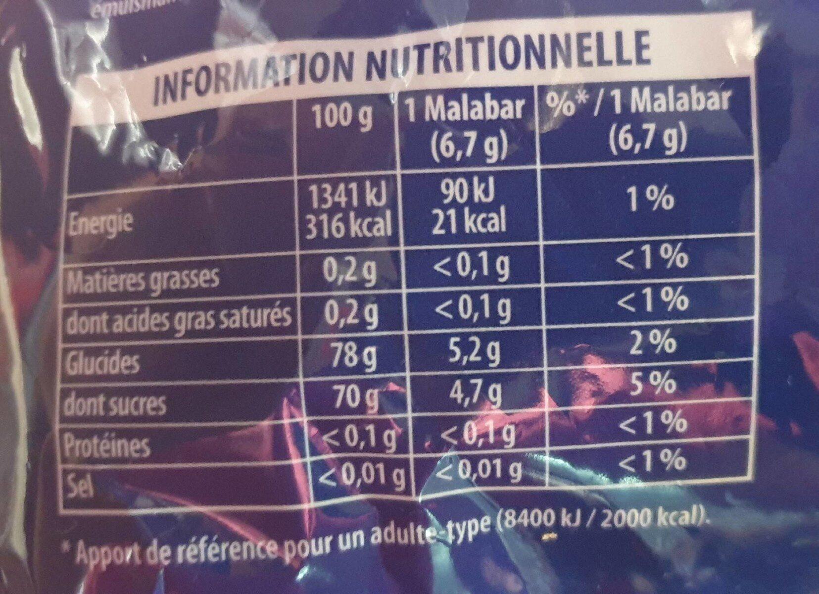 Malabar bubble mix - Informations nutritionnelles - fr