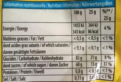 Mini FRUTTI BIO - Informations nutritionnelles - fr