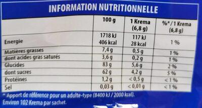 Krema foot mix - Informations nutritionnelles - fr
