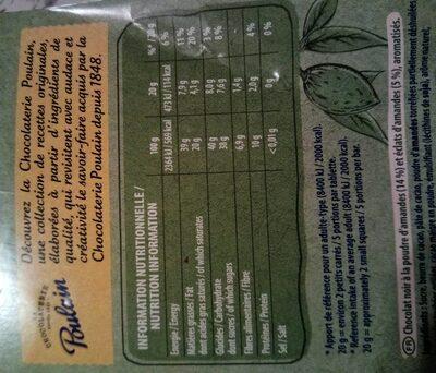 Chocolat végétal - Informação nutricional - fr