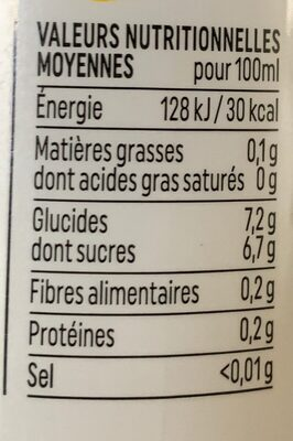 Yellow drink - Nutrition facts