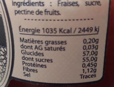 Confiture extra fraise - Nutrition facts - fr