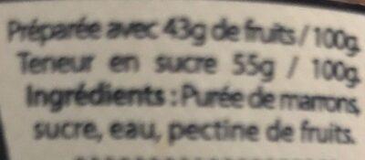 Creme marron - Ingredients - fr