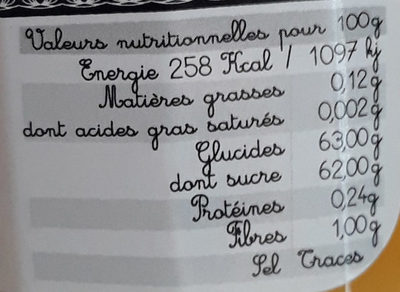Confiture extra d'ananas - Nutrition facts