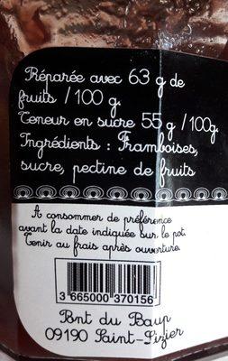 Confiture extra de framboise sans pepins - Ingredients