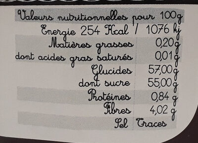 Crème framboise - Informazioni nutrizionali - fr