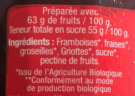 Confitire extra de 4 fruits - Ingredients