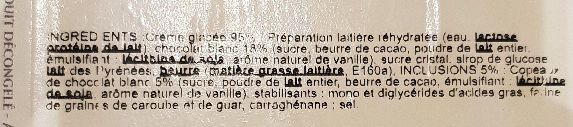 Crème Glacée Chocolat Blanc avec Copeaux de Chocolat Blanc - Ingrédients - fr