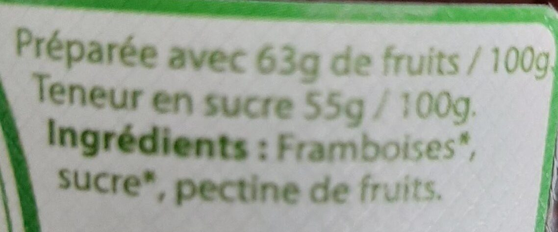 Confiture extra Framboise - Ingredients - fr