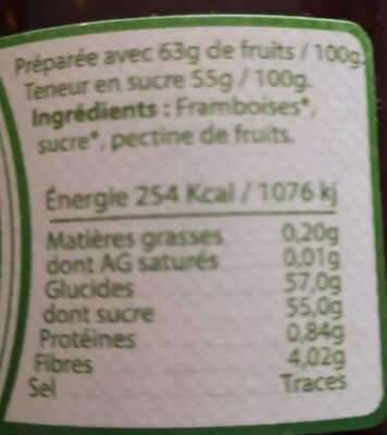 Confiture extra Framboise - Nutrition facts - fr
