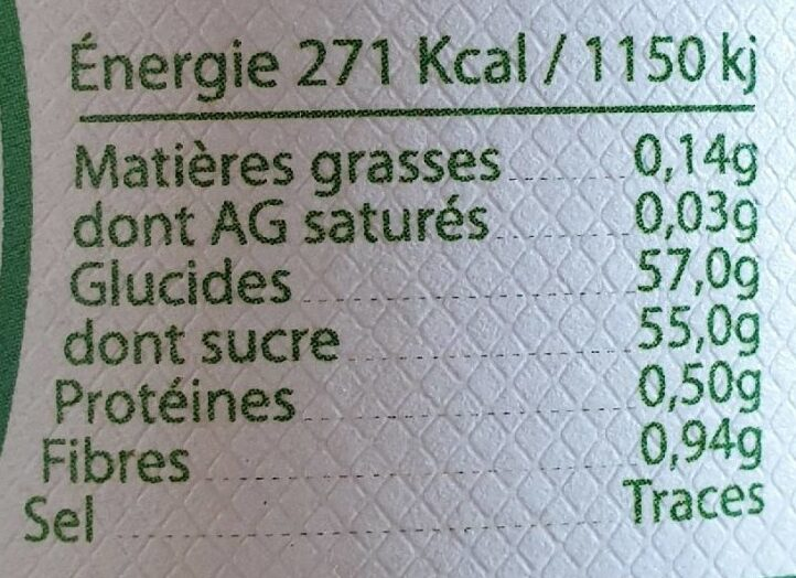 Marmelade Orange Amère - Nutrition facts - fr