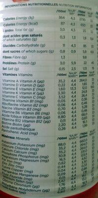 Pret a boire fruit rouge - Informations nutritionnelles