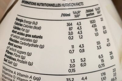 Feed Le repas complet Vanille - Nutrition facts