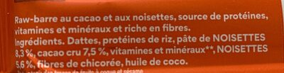 Raw Barre Noisette Chocolat - Nutrition facts - fr
