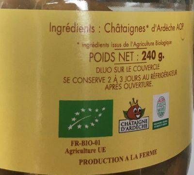 Chataignes au naturel - Ingredients