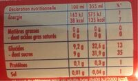 Orangina rouge - Nutrition facts - fr