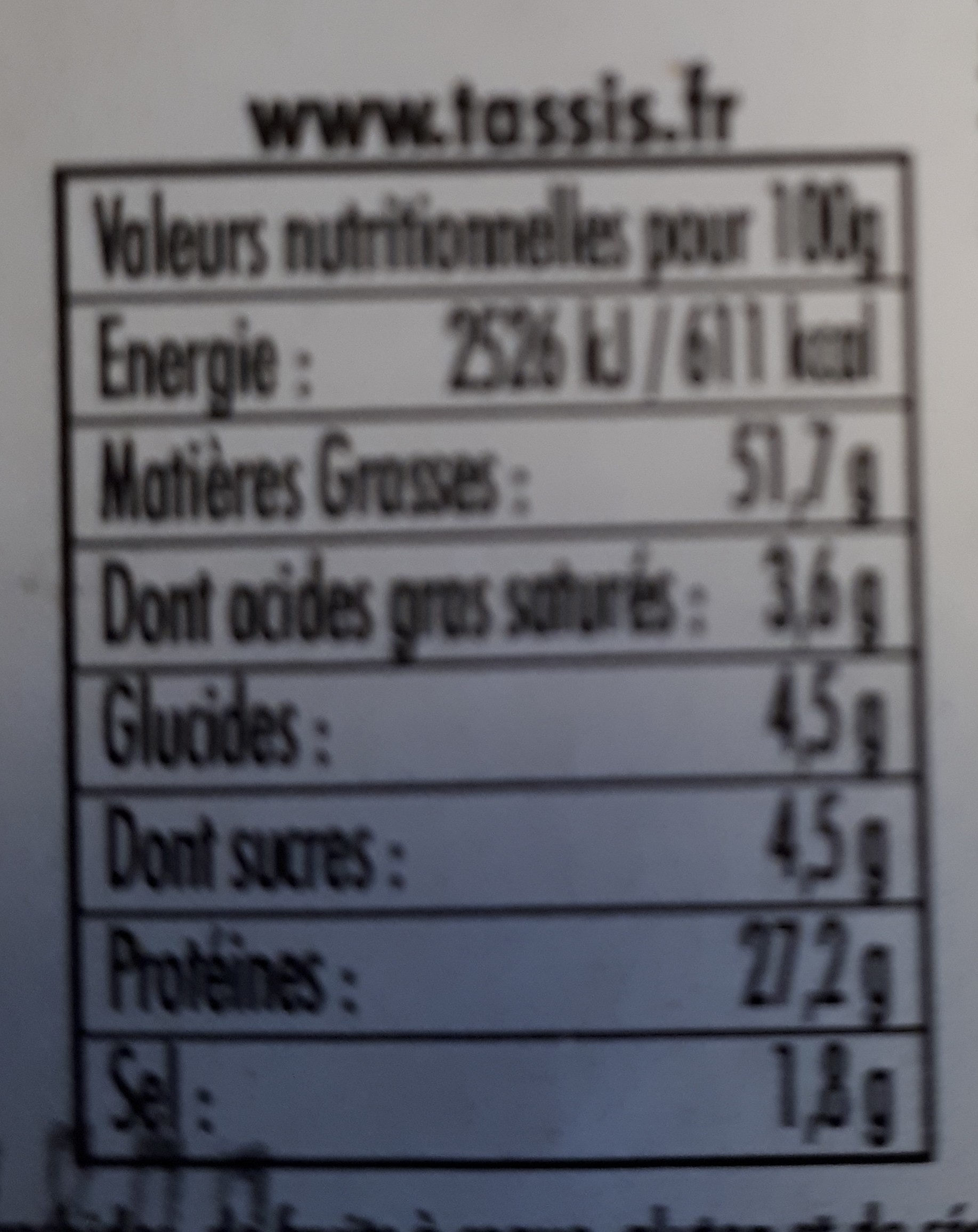 Amandes grillées salées - Nutrition facts