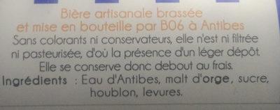 Bière d'Antibes Ambrée - Ingredients - fr